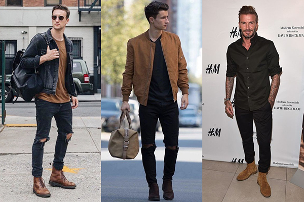 Двухцветные образы с коричневыми ботинками для мужчин