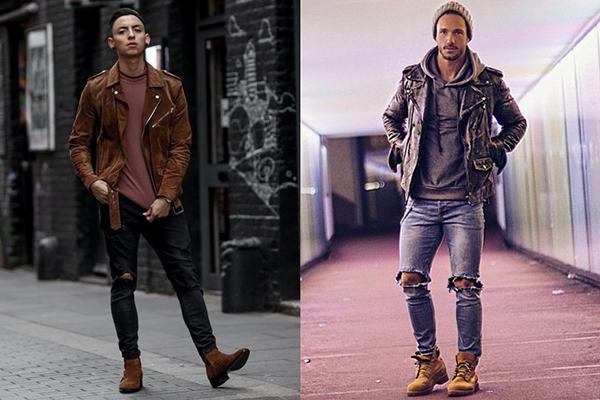 Мужчины в коричневых ботинках и кожаных куртках