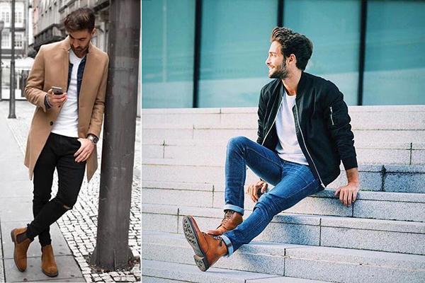Легкие демисезонные образы с коричневыми ботинками для мужчин