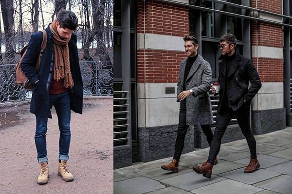 Мужчины в пальто и коричневых ботинках