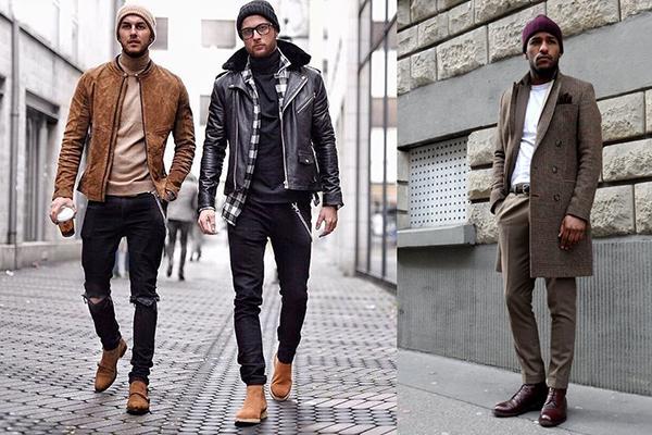 Осенние образы с коричневыми ботинками для мужчин