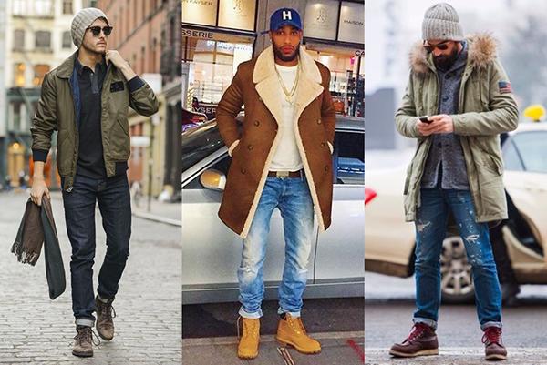Зимние образы с коричневыми ботинками для мужчин
