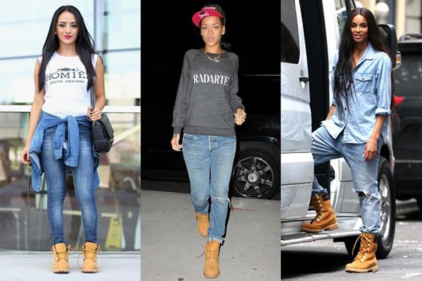 Девушки в джинсах и тимберлендах