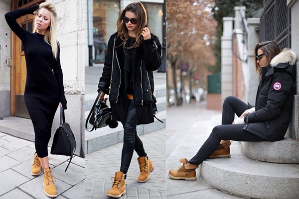Женские образы с тимберлендами и черной одеждой