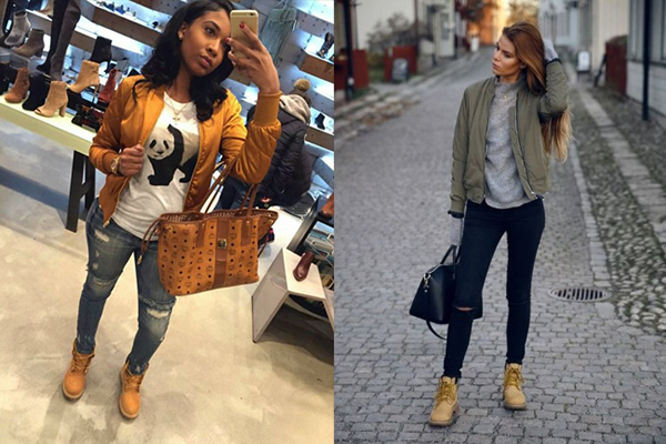 Девушки в тимберлендах и спортивных курточках