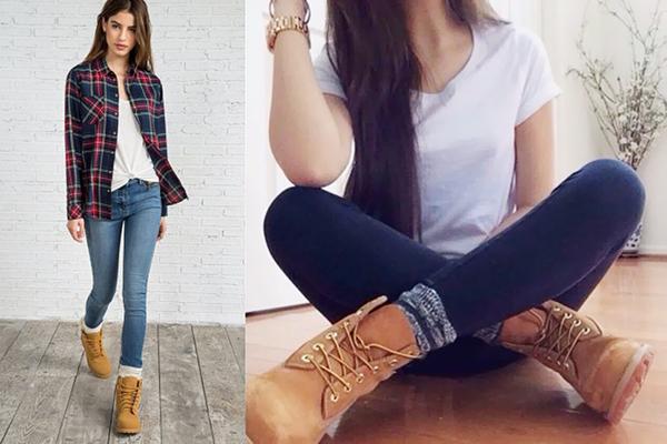 Как носить тимберлендыс джинсами скинни, заправленными в носки