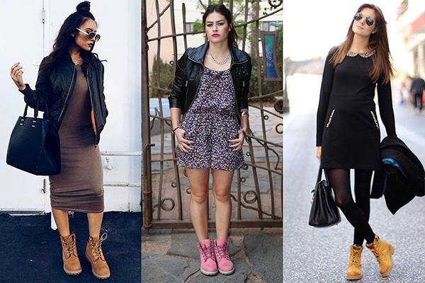 Как носить тимберленды с платьями