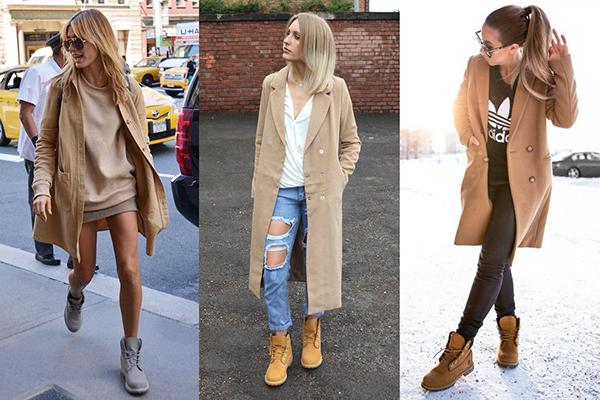 Девушки в светлых пальто и тимберлендах