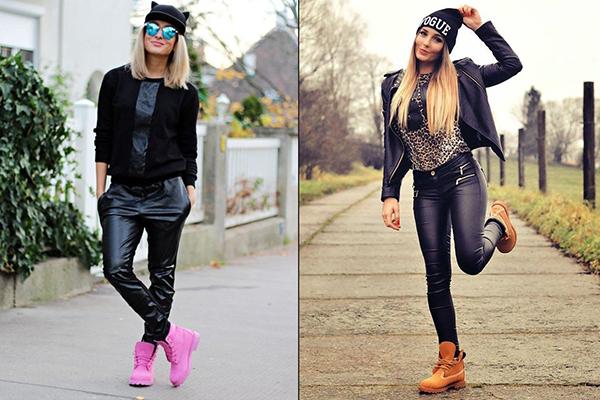 Девушки в тимберлендах и кожаных штанах