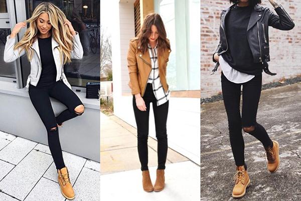 Сочетание тимберлендов с рваными джинсами