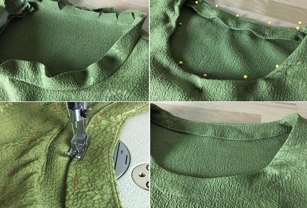 Обтачка горловины платья кантом