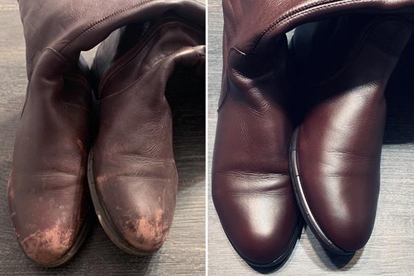 Сапоги до и после обработки жидкой кожей