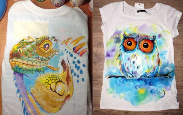 Рисунки красками на майках