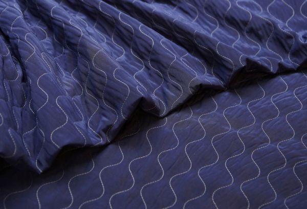 Ткань трикотаж стеганный синий