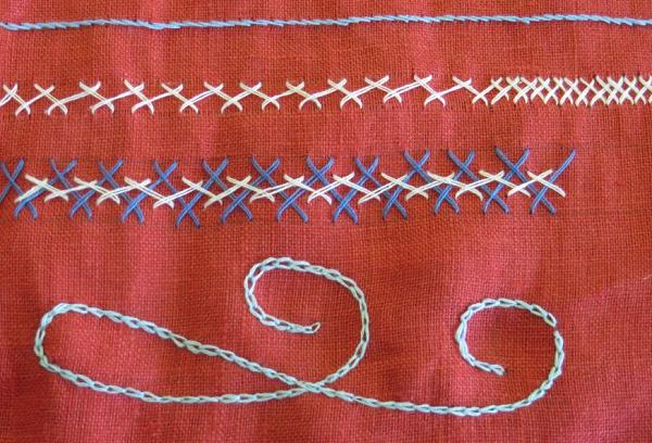 Тамбурный шов на ткани
